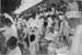 Gandhi collecting money for Harijan Fund on a railway platform, Bhavnagar, July 1934