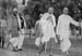 Gandhi with Mahadevbhai on the way to khadi exhibition, Lucknow,  1936