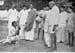 Talking to a blind villager who contributed to Bihar Relief Fund, March 26, 1947