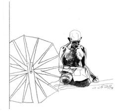 Gandhi and Spinning Wheel