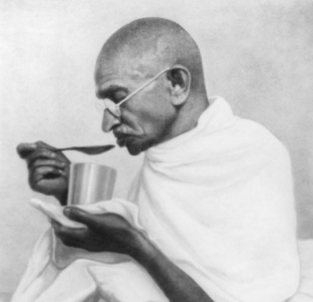 Mahatma Gandhi takes his last meal before his fast at Rashtriyashala Ashram, Rajkot, in March 1939