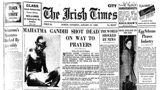 The Irish Times - Gandhi assassinated