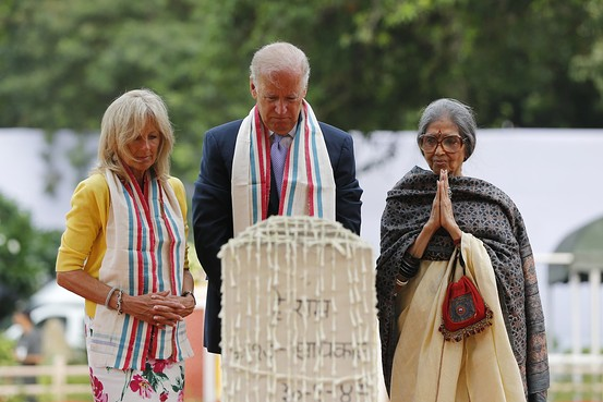 US Vice President Joe Biden with his wife Dr. Jill Biden and Gandhi's granddaughter Tara Gandhi