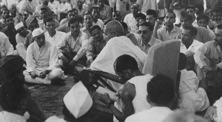 Mahatma Gandhi addressing the members of the Indian National Army