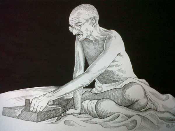 Gandhi spinning on charkha
