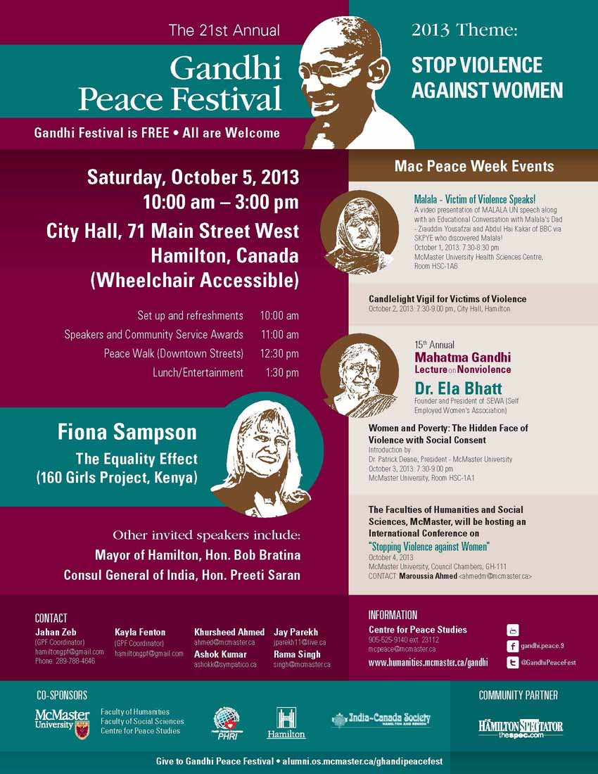 The 21st Annual Gandhi Peace Festival 2013