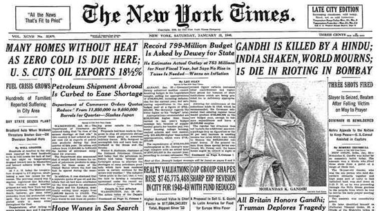 The New York Times - Gandhi assassinated