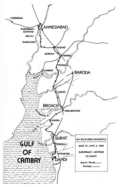 Route Map of Salt March - Dandi March
