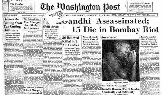 The Washington Post - Gandhi assassinated